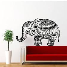 Animal Vintage Elephant Patterns Art Indian Design Wall Vinyl Decal Art Sticker Home Modern Stylish Interior Decor For Any Room Smooth And Flat Surfaces Housewares Murals Graphic Bedroom Living Room 2354