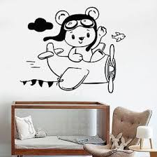 Vinyl Wall Decal Little Teddy Bear Aviator Plane Children S Room Stickers 1107ig Ebay