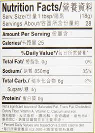 panda oyster sauce nutrition facts