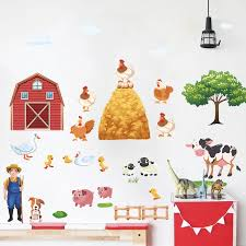 Cartoon Farm Animals Wall Stickers For Kids Rooms Living Room Home Decor Hen Pig Cows Duck Tree Wall Decal Pvc Mural Diy Posters Sticker For Kids Room Wall Stickers For Kidsanimal Wall Stickers