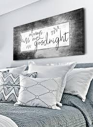 Couples Wall Art Always Kiss Me Goodnight V4 Wood Frame Ready To Han Sense Of Art