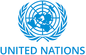 "white background blue text reading ""United Nations"" with logo of globe and leaves"