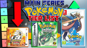 The Main Series Pokémon Game Tier List - YouTube