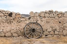 Wagon Wheel Against A Stone Fence At Hueco Tanks State Park Northwest Of El Paso Texas Library Of Congress