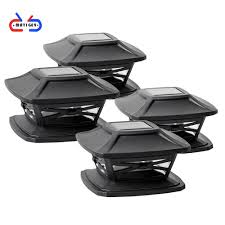 4 Pack Solar Post Lights Led Lighting Outdoor Post Cap Light For Fence Deck Or Patio Solar Powered Caps Slate Black Shopee Philippines