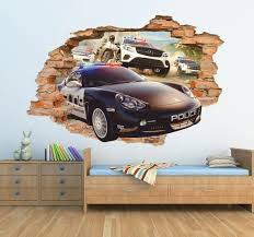 Police 3d Wall Sticker Pursuit Wall Decal Porsche Police Car Etsy Kids Room Wall Art Kids Room Wall Vinyl Wall Stickers