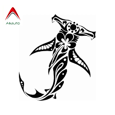 Aliauto Personality Fashion Car Sticker Tribal Shark With Hibiscus Vinyl Automobile Styling Decals Black Silver 13cm 15cm Car Stickers Aliexpress