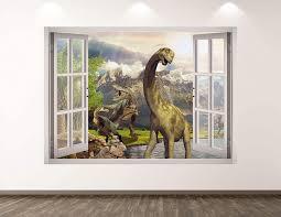 Amazon Com West Mountain Dinosaur Wall Decal Art Decor 3d Window Animal Landscape Sticker Mural Kids Room Custom Gift Bl348 22 W X 16 H Home Kitchen