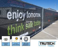 Custom Construction Fence Banners Company Logo Signs For Jobsites