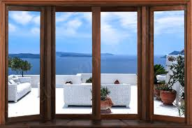 Greek Sea Window View Wallpaper Peel And Stick Removable Wall Mural Wall Decal Delazurgoods View Wallpaper Window View Windows