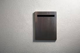 Javi Wall Mount Letterbox Flush Mounted Into A Wall Cavity Dark Stain Finish Modern Mailbox Dark Stains Letter Box
