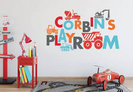 Construction Wall Decals Playroom Wall Decals Construction Etsy