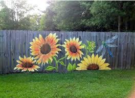 Decorative Hand Painted Sunflowers Dragonfly Privacy Fence Garden Fence Art Garden Mural Garden Design Ideas On A Budget