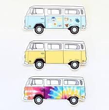 Tie Dye Bus Vinyl Sticker Etsy Volkswagen Bus Art Bus Art Vans Stickers