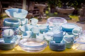 turquoise and sapphire blue tableware