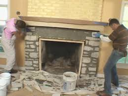 fireplace mantel and add stone veneer