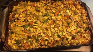 pover matzo kugel with vegetables