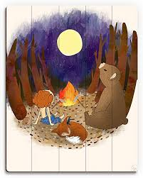 Amazon Com Campfire With Friends Ginger Whimsical Painting Of Boy With Bear Fox In The Moonlight For Boys Kids Room Wall Art Print On Wood Posters Prints