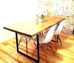 rustic wood dining table with metal