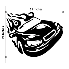 Sport Car On Fire Wall Decals Smiley Decalz