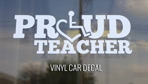 Proud Teacher Car Decal By Teacher 3e Love S Wheelchair Heart