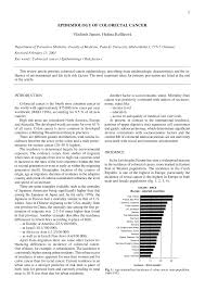 pdf epidemiology of colorectal cancer