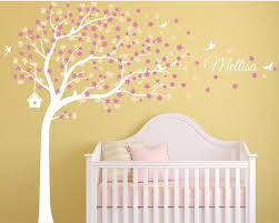 Cherry Blossoms Tree Wall Decal For Nursery Girls Room Neutral Decoration Tree Decal Nursery Wall Art Tree With Birds Wall Stickers Aliexpress