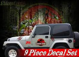 9 Piece Jurassic Park Vinyl Graphics Decals Set Rubicon Jk Tk Door Sti Street Legal Decals