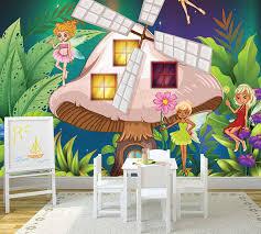 Mushroom House And Fairies In The Jungle Kids Room Wall Mural
