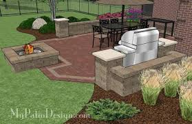 brick patio design with fire pit