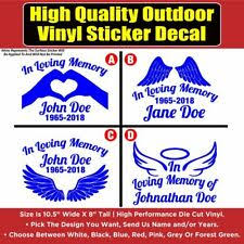In Loving Memory Of Cute Dove Cross Vinyl Sticker Car Decal Special Remembering