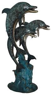three dolphin fountain bronze statue