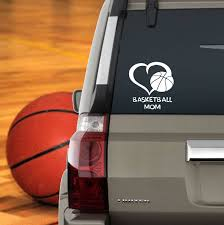Basketball Mom Window Sticker Heart Basketball Mom Computer Etsy Basketball Mom Vinyl Window Decals Mom Car
