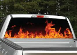 Fire Flames Red Orange Rear Window Decal Graphic For Truck Suv Ebay