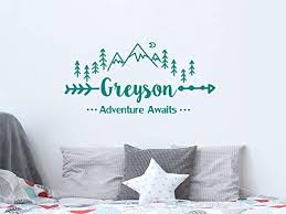 Amazon Com Stylewithdecals Wall Decal Boys Name Adventure Awaits Arrow Vinyl Stickers Personalized Name Mountain Nursery Bedroom Kids Custom Name C681 Home Kitchen