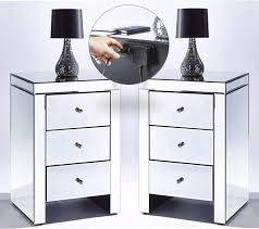 2 usb mirrored 3 drawer bedside tables