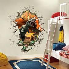Ufengke 3d Jurassic World Vivid Dinosaur Wall Decals Children S Room Nursery Removable Wall Stickers Murals B01dal6vas