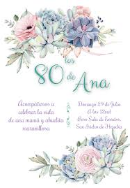 Invitacion De 80 Anos Tema Suculentas Suculentas Invitacion