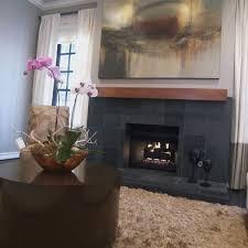 modern gray slate tile fireplace design