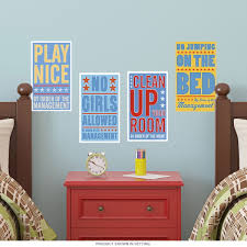 Bedroom Rules Boys Room Wall Decal Set At Retro Planet