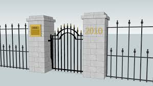 Cambridge Column Mailbox With Gate And Fence 3d Warehouse