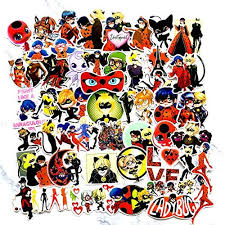 Amazon Com Miraculous Ladybug Stickers For Laptop 50pcs Pvc Waterproof Sunlight Proof Durable Anime Stickers For Mobile Phone Water Bottles Luggage Bike Car Guitar Arts Crafts Sewing