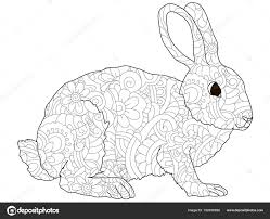 Adult Antistress Coloring Rabbit Hare Animal Pattern Astrakhan