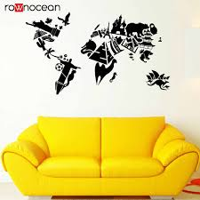 World Map Vinyl Wall Decal Sights World Map Country Travels Vinyl Stickers Nautical Wall Decoration For Sofa Background 3147 Wall Stickers Aliexpress