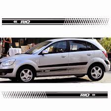 2pcs Stylish Car Door Side Sticker Vinyl Body Decal Racing Stripe Sticker For Kia Rio Car Accessories Car Stickers Aliexpress