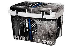 Usa Tuff Thickest Toughest Wrap 24mil Cooler Decal Skin For Yeti 105qt Tundra Full Kit Usa Ammo Skull Blue Line Yeti Cooler Wraps Yeti Tundra Yeti Cooler