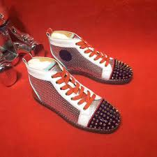 white black leather spiked sneaker