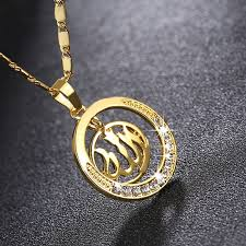 gold plated circle pendant necklace
