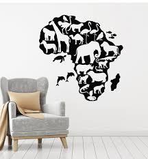 Vinyl Wall Decal African Continent Map Geography Animals Stickers Mura Wallstickers4you