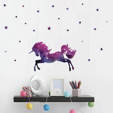 Kids Living Room Bedroom Girls Room Decor Cartoon Galaxy Unicorns Star Wall Stickers Wallpaper Diy Home Wall Decals Wall Stickers Aliexpress